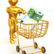 Man  with Consumer basket and Euro - Stock Photo