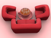 Armchair with cup of coffee — Stock Photo
