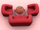 Křeslo s šálkem kávy — Stock fotografie