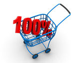 Consumer basket with 100 percent — Stock Photo