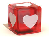 Cube with hearts. 3d — Stock fotografie