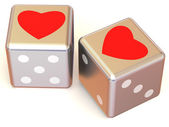 Cubes with Hearts. Love. 3d — Stock Photo