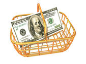 Consumer basket with dollar — Stock Photo