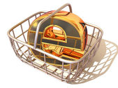 Consumer basket with sign for internet. 3d — Stock Photo