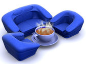 Poltrona com café — Fotografia Stock
