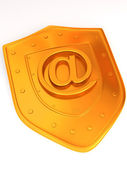 Shield with symbol for internet. — Stock Photo