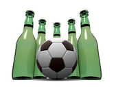 Bottles of beer and ball. 3d — Stock Photo