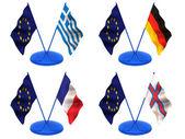 Flags. Euro, Greece, Germany, France, Farrery — Stock Photo