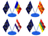 Flags. Euro, Moldova, Macedonia, Lithuania, Luxembourg — Foto Stock