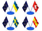 Flags. Euro, Ukraine, Switzerland, Spaine, Sweden — Stock Photo