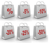 Shopping bag with percent — Stock Photo