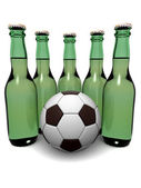 Bottles of beer and ball — Stock Photo