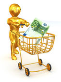 Man with Consumer basket and Euro — Stock Photo