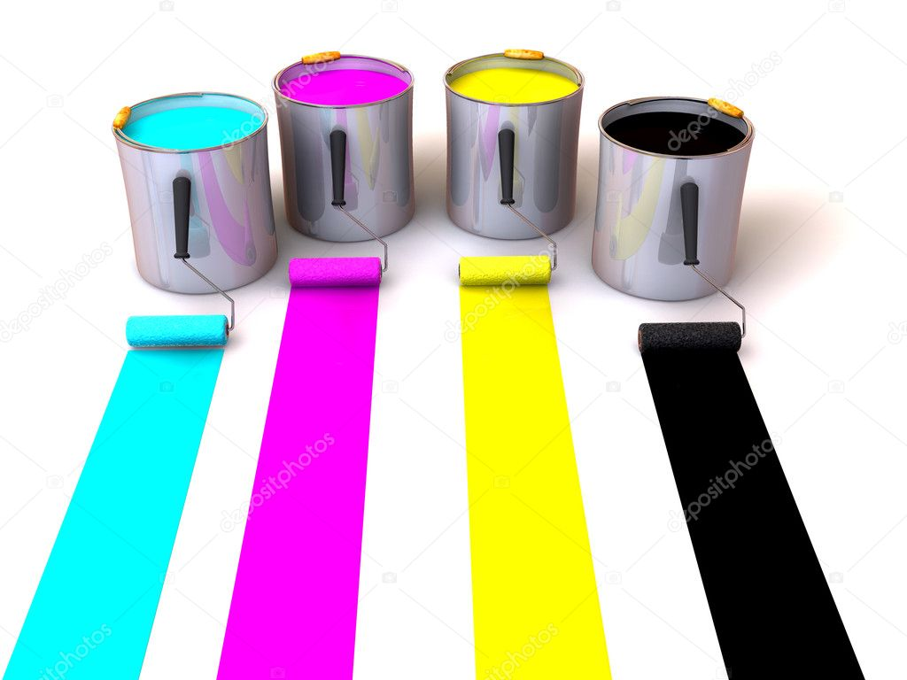 Rollers brush and buckets of paint. 3d — Stock Photo #5084184