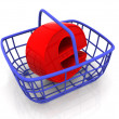 Royalty-Free Stock Photo: Consumer\'s basket with symbol for internet