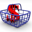 Stock Photo: Consumer's basket with dollar