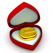 Box as heart with a symbol for internet. 3d — Stock Photo #5093627
