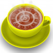 Cup with clock. Eight o'clock — Stock Photo #5093667