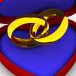 Box as heart with  wedding rings - 