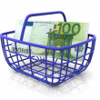 Consumer&#039;s basket with handred euro - Stock Photo