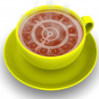 Cup with clock. Eight o'clock — Stock Photo