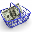 Consumer&#039;s basket with handred dollars. - Stock Photo