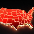 Stock Photo: Map of USA. 3d