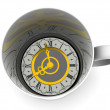 Stock Photo: Cup with clock. Eight o'clock