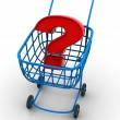 Consumer's basket with question. - Stockfoto