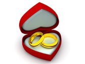 Box as heart with wedding rings. 3d — Stock Photo