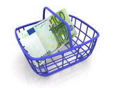 Consumer's basket with handred euro — Stock Photo