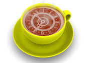 Cup with clock. Eight o'clock — Stockfoto