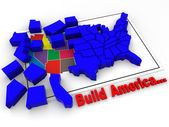 "Puzzle ""build USA"". 3d — Stock Photo"