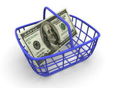 Consumer's basket with handred dollars. — Stock Photo