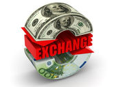 Currency exchange. Euro. Dollar — Stock Photo
