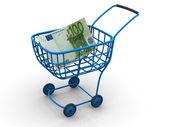 Cesta del consumidor con el euro — Foto de Stock