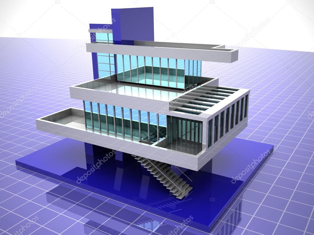 Model of house. 3d  Stock Photo #5094109