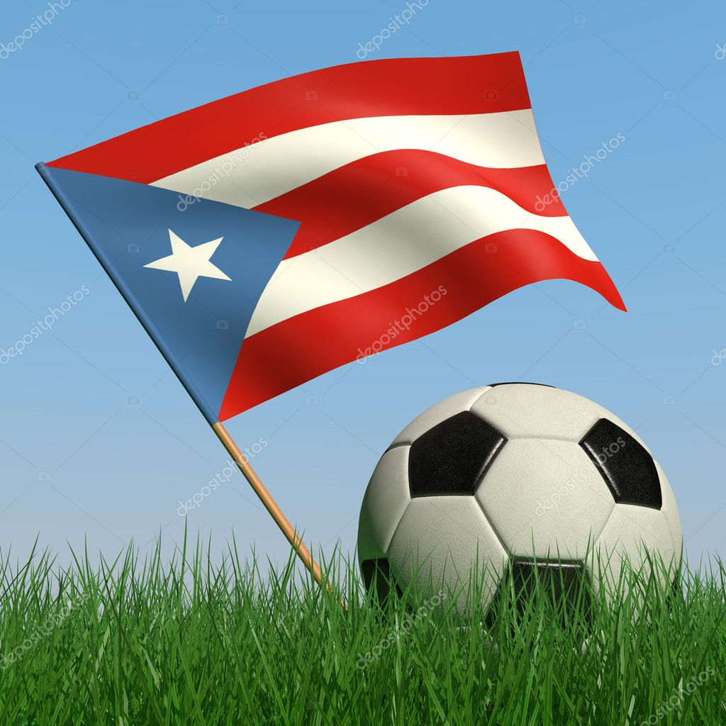Soccer ball in the grass and the flag of Puerto-Rico against the blue sky. 3d — Stock Photo #5110791