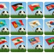 Asian flags and ball on grass. 3d — Stock Photo
