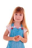 Small girl needs advice — Stock Photo