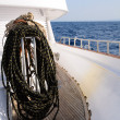 Bundle of rope on marine yacht — Stock Photo #2998532