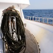 Bundle of rope on marine yacht — Stock Photo