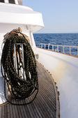Bundle of rope on marine yacht — Stock Photo