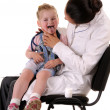 Stock Photo: Child and doctor:throat checking