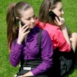 Royalty-Free Stock Photo: Two young businesswomen calling by phone