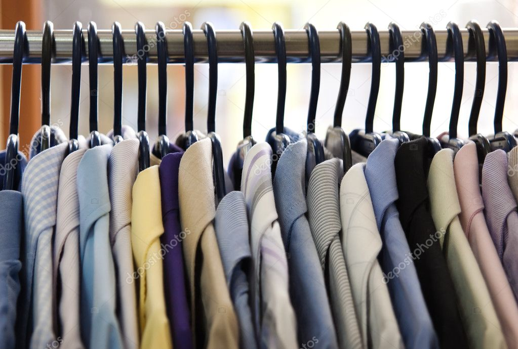 Mix color Shirt and Tie on Hangers — Stock Photo #2798888