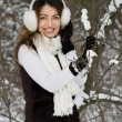 Bride in winter near the tree - Stock Photo