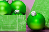 Beautiful green Christmas balls in gift box — Stock Photo