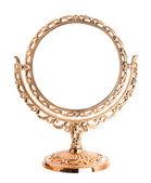 Antiguo espejo de oro aislado — Foto de Stock