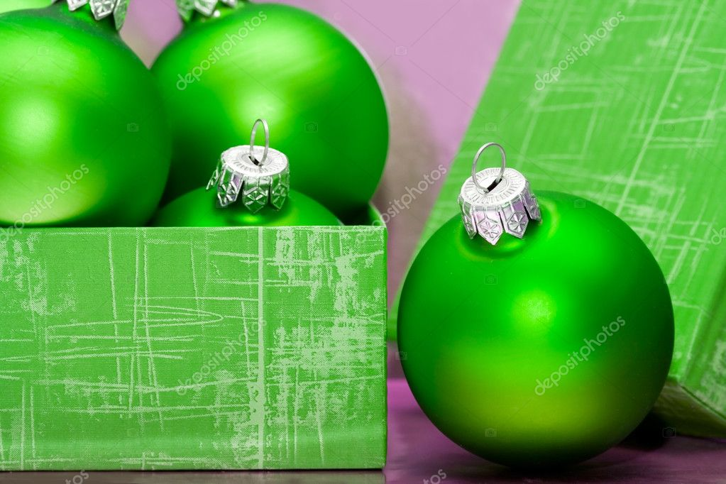 Beautiful green Christmas balls in gift box   Stock Photo #2793868